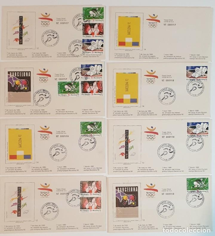 8 SOBRES BARCELONA 92 , IV SERIE PRE-OLIMPICA - AÑO 1990 - PRIMER DÍA (Sellos - Historia Postal - Sello Español - Sobres Primer Día y Matasellos Especiales)