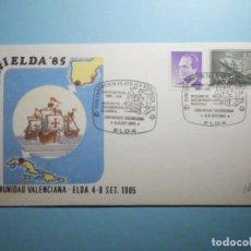 Sellos: SOBRE CONMEMORATIVO - XVIII EXPOSICIÓN FILATÉLICA EXFIELDA ´85 - ELDA - ALICANTE 1985. Lote 235499040