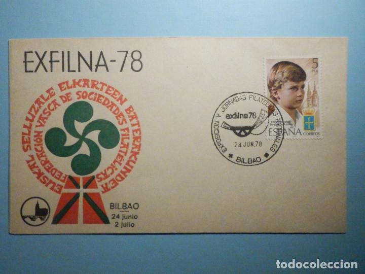 SOBRE CONMEMORATIVO - EXFILNA-78 - FEDERACION VASCA DE SOCIEDADES FILATÉLICAS - BILBAO 1978 (Sellos - Historia Postal - Sello Español - Sobres Primer Día y Matasellos Especiales)