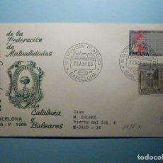 Sellos: SOBRE CONMEMORATIVO ALFIL IX EXPOSICIÓN FILATÉLICA FEDERACIÓN MUTUALIDADES CATALUÑA Y BALEARES 1969. Lote 235510540