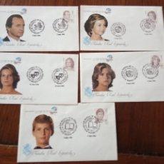 Sellos: 5 SOBRES FAMILIA REAL ESPAÑOLA - MATASELLOS ESPECIAL EXPOSICIÓN MUNDIAL DE FILATELIA 1984.. Lote 236791760