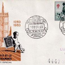 Selos: UNIVERSIDAD MAESTRA CIENCIAS VII CENTENARIO, SALAMANCA 12 OCTUBRE 1953 MATASELLOS SOBRE CIRCULADO DP. Lote 237398055