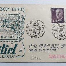 Sellos: SOBRE DEL PRIMER DIA. III EXPOSICION FILATELICA EN UTIEL. VALENCIA. AÑO 1957. Lote 239642135