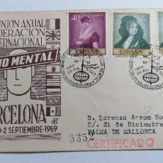 Sellos: SOBRE PRIMER DIA. XII REUNION ANUAL DE LA FEDERACION INTERNACIONAL DE LA SALUD MENTAL. 1959. Lote 239648355