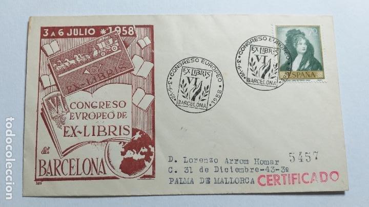 SOBRE PRIMER DIA. VI CONGRESO EUROPEO DE EX-LIBRIS, BARCELONA 1958. (Sellos - Historia Postal - Sello Español - Sobres Primer Día y Matasellos Especiales)