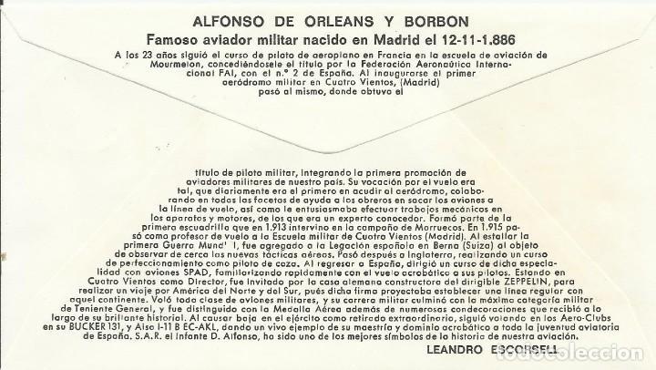 Sellos: Pioneros de la Aviación. Alfonso de Orleans y Borbón. 1980. Alfil. 9x16,5 cm. Buen estado. Sobre. - Foto 2 - 239798395