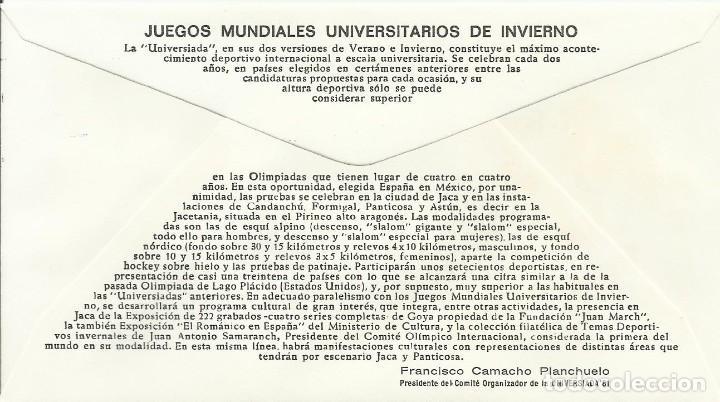 Sellos: Juegos Mundiales Universitarios de Invierno. 1981. Primer día. Alfil. 9x16,5 cm. Buen estado. Sobre. - Foto 2 - 239810070