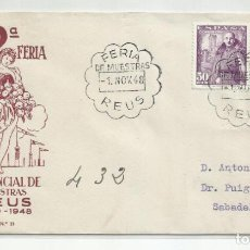 Francobolli: FERIA DE MUESTRAS 1948 CIRCULADA DE REUS TARRAGONA A SABADELL BARCELONA. Lote 242064150