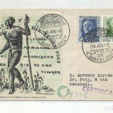 Sellos: EXPO COLONIAS ESPAÑOLAS 1948 CIRCULADA DE BARCELONA A SABADELL BARCELONA. Lote 242093900