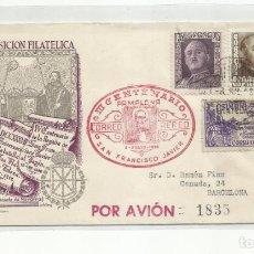 Sellos: EXPO FILATELICA SAN FCO JAVIER 1949 CIRCULADA DE PAMPLONA A BARCELONA. Lote 242094790