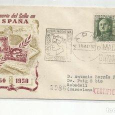 Sellos: EXPO CONMEMORATIVA SELLO ESPAÑOL MADRID 1950 CIRCULADA A SABADELL BARCELONA. Lote 242103165