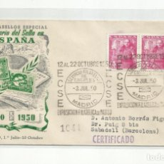 Sellos: EXPO CONMEMORATIVA SELLO ESPAÑOL MADRID 1950 CIRCULADA A SABADELL BARCELONA. Lote 242103450