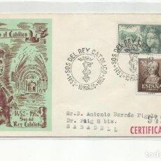 Sellos: CENTENARIO NACIMIENTO FERNANDO DE ARAGON 1952 CIRCULADA DE SOS DEL REY CATOLICO ZARAGOZA A BARCELONA. Lote 242104630