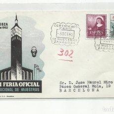 Sellos: FERIA DE MUESTRAS 1952 CIRCULADA DE ZARAGOZA A BARCELONA. Lote 242104780