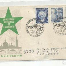 Sellos: CONGRESO ESPERANTO 1954 CIRCULADA DE ZARAGOZA A SABADELL BARCELONA. Lote 242105190