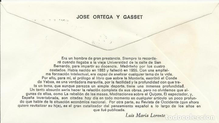 Sellos: Europa. José Ortega y Gasset. 1980. Primer día. 9x16,5 cm. Buen estado. Sobre. - Foto 2 - 242164450