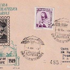 Sellos: I EXPOSICION FILATELICA, SANTA CRUZ TENERIFE (CANARIAS) 1949. MATASELLOS SOBRE ORTIN HERNAN CORTES. Lote 243902060