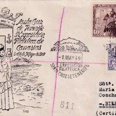 Sellos: I EXPOSICION FILATELICA SANTA CRUZ DE TENERIFE (CANARIAS) 1949. RARO MATASELLOS SOBRE CIRCULADO ET. Lote 243902295