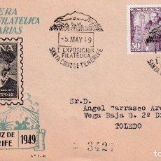 Sellos: I EXPOSICION FILATELICA, SANTA CRUZ TENERIFE CANARIAS 1949. RARO MATASELLOS SOBRE EG HERNAN CORTES. Lote 243902600