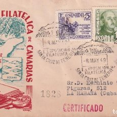 Sellos: I EXPOSICION FILAT, SANTA CRUZ DE TENERIFE (CANARIAS) 1949. MATASELLOS SOBRE DP CIRCULADO A CUBA MPM. Lote 243903020