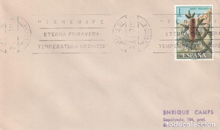 TENERIFE ETERNA PRIMAVERA, SANTA CRUZ DE TENERIFE (CANARIAS) 1972. RARO MATASELLOS RODILLO EN SOBRE. (Sellos - Historia Postal - Sello Español - Sobres Primer Día y Matasellos Especiales)
