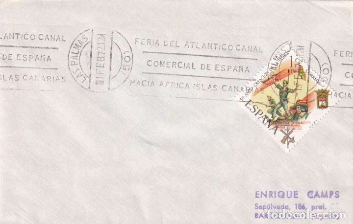 FERIA ATLANTICO CANAL COMERCIAL DE ESPAÑA, LAS PALMAS (CANARIAS) 1972. RARO MATASELLOS RODILLO SOBRE (Sellos - Historia Postal - Sello Español - Sobres Primer Día y Matasellos Especiales)