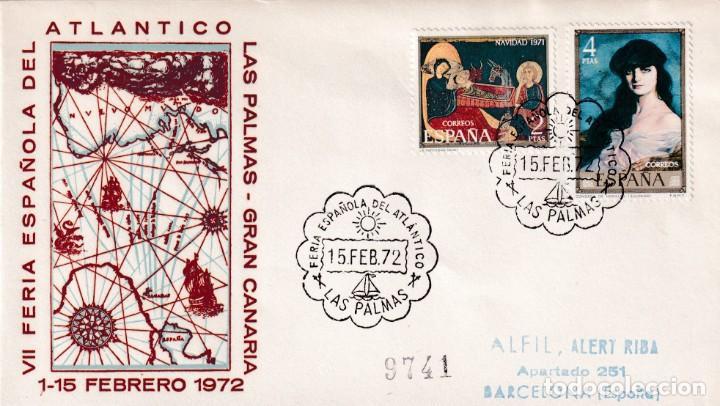 BARCOS FERIA ESPAÑOLA DEL ATLANTICO, LAS PALMAS (CANARIAS) 1972. MATASELLOS EN SOBRE CIRCULADO ALFIL (Sellos - Historia Postal - Sello Español - Sobres Primer Día y Matasellos Especiales)