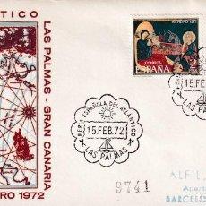 Sellos: BARCOS FERIA ESPAÑOLA DEL ATLANTICO, LAS PALMAS (CANARIAS) 1972. MATASELLOS EN SOBRE CIRCULADO ALFIL. Lote 243909480