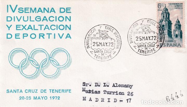 DEPORTES DIVULGACION DEPORTIVA IV SEMANA, SANTA CRUZ DE TENERIFE (CANARIAS) 1972. RARO MATASELLOS EN (Sellos - Historia Postal - Sello Español - Sobres Primer Día y Matasellos Especiales)