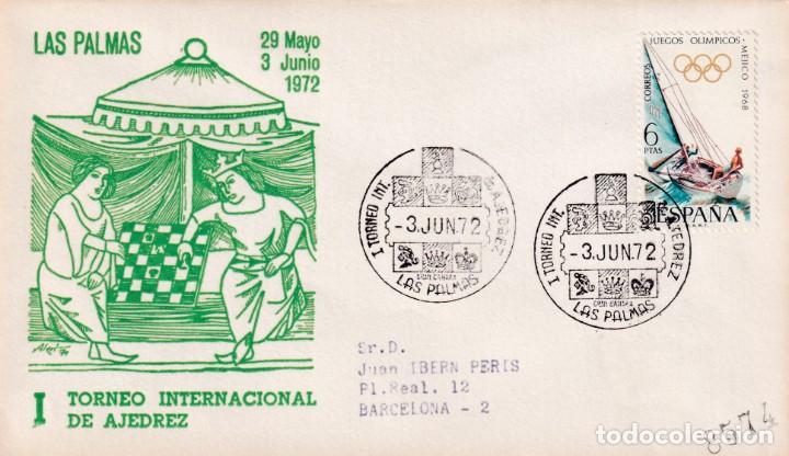 AJEDREZ I TORNEO INTERNACIONAL, LAS PALMAS (CANARIAS) 1972. RARO MATASELLOS EN SOBRE CIRCULADO ALFIL (Sellos - Historia Postal - Sello Español - Sobres Primer Día y Matasellos Especiales)