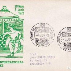 Sellos: AJEDREZ I TORNEO INTERNACIONAL, LAS PALMAS (CANARIAS) 1972. RARO MATASELLOS EN SOBRE CIRCULADO ALFIL. Lote 243911240