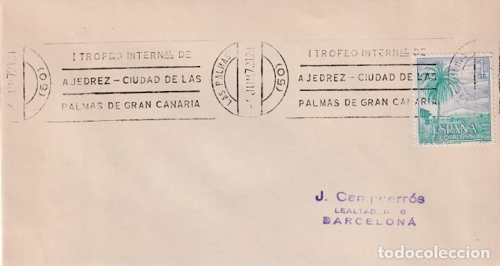 AJEDREZ I TROFEO CIUDAD DE LAS PALMAS (CANARIAS) 1972. RARO MATASELLOS DE RODILLO EN SOBRE. (Sellos - Historia Postal - Sello Español - Sobres Primer Día y Matasellos Especiales)