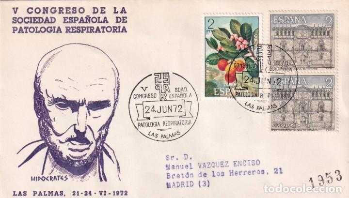 MEDICINA PATOLOGIA RESPIRATORIA V CONGRESO LAS PALMAS (CANARIAS) 1972 RARO MATASELLOS EN SOBRE ALFIL (Sellos - Historia Postal - Sello Español - Sobres Primer Día y Matasellos Especiales)