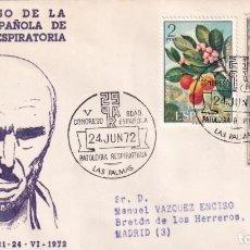 Sellos: MEDICINA PATOLOGIA RESPIRATORIA V CONGRESO LAS PALMAS (CANARIAS) 1972 RARO MATASELLOS EN SOBRE ALFIL. Lote 243912510