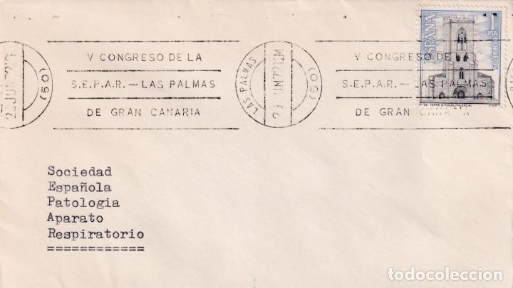 MEDICINA PATOLOGIA RESPIRATORIA V CONGRESO SEPAR, LAS PALMAS (CANARIAS) 1972 RARO MATASELLOS RODILLO (Sellos - Historia Postal - Sello Español - Sobres Primer Día y Matasellos Especiales)