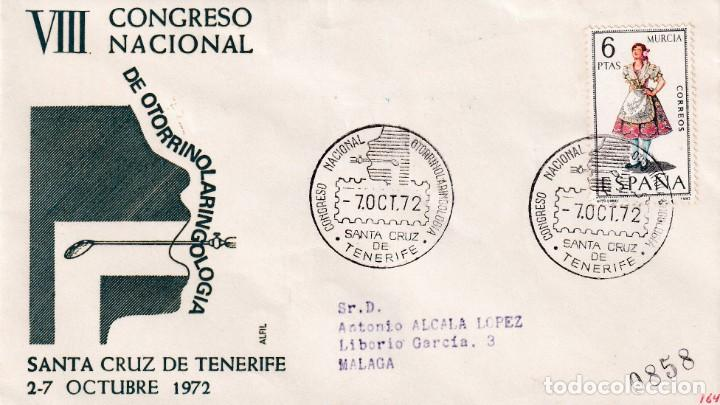 MEDICINA OTORRINOLARINGOLOGIA VIII CONGRESO, SANTA CRUZ DE TENERIFE (CANARIAS) 1972. MATASELLOS MPM (Sellos - Historia Postal - Sello Español - Sobres Primer Día y Matasellos Especiales)