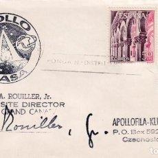 Sellos: RARA MARCA APOLO NASA EN CARTA LAS PALMAS (CANARIAS) 1972 A PRAGA FIRMADA DIRECTOR NASA SITE CYI.. Lote 243917375