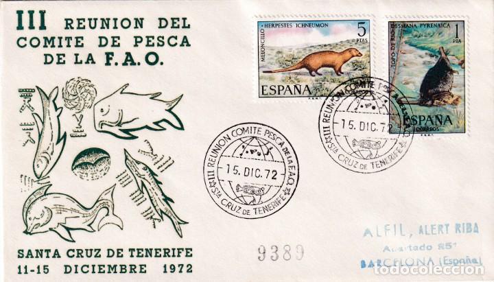 FAO III REUNION COMITE PESCA, SANTA CRUZ DE TENERIFE (CANARIAS) 1972. RARO MATASELLOS EN SOBRE ALFIL (Sellos - Historia Postal - Sello Español - Sobres Primer Día y Matasellos Especiales)