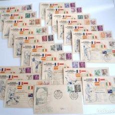 Timbres: II JUEGOS MEDITERRANEOS BARCELONA 1955 - JUEGO DE 21 SOBRES DE PRIMER DIA CON MATASELLOS ESPECIAL. Lote 244573235