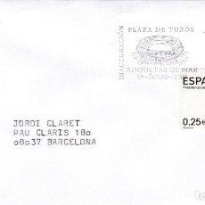 Sellos: TAUROMAQUIA INAUGURACION PLAZA DE TOROS, ROQUETAS DE MAR (ALMERIA) 2002. RARO MATASELLOS RODILLO EN. Lote 245570865