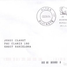 Sellos: MOROS I CRISTIANS SANT BLAI 25 ANIVERSARI, ALTEA (ALICANTE) 2004. RARO MATASELLO DE RODILLO EN SOBRE. Lote 245571755