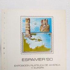 Sellos: DOCUMENTOS FILATELICO DE FNMT Nº 12. EXPOSICION FILATELICA AMERICA Y EUROPA. ESPAMER 80. Lote 246150965
