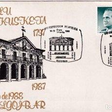 Sellos: AYUNTAMIENTO 250 AÑOS VIII EXPOSICION, ELGOIBAR (GUIPUZCOA) 1988. MATASELLOS EN RARO SOBRE ILUSTRADO. Lote 246319865