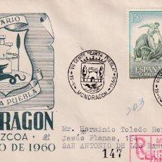 Sellos: CONCESION CARTA PUEBLA VII CENTENARIO, MONDRAGON GUIPUZCOA 1960 MATASELLOS SOBRE DP CIRCULADO A CUBA. Lote 246320855