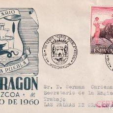 Sellos: CONCESION CARTA PUEBLA VII CENTENARIO, MONDRAGON (GUIPUZCOA) 1960. MATASELLOS SOBRE CIRCULADO DP MPM. Lote 246321070