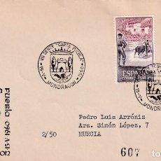 Sellos: CONCESION CARTA PUEBLA VII CENTENARIO MONDRAGON GUIPUZCOA 1960 MATASELLO SOBRE CIRCULADO ARRONIZ MPM. Lote 246321555