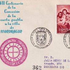 Sellos: CONCESION CARTA PUEBLA VII CENTENARIO, MONDRAGON GUIPUZCOA 1960 MATASELLOS SOBRE CIRCULADO ALFIL MPM. Lote 246322075