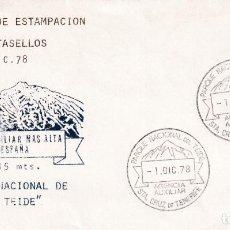 Sellos: 1 DICIEMBRE 1978 PRIMER DIA ESTAMPACION MATASELLOS AGENCIA AUXILIAR TEIDE SANTA CRUZ TENERIFE. RARO.. Lote 246323290