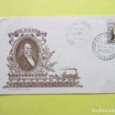 Sellos: FERROCARRIL CENTENARIO MATASELLOS EXPOSICION BARCELONA Y ¿MATARO? BARCELONA 28 1948 OCTUBRE MIGUEL B. Lote 247296120