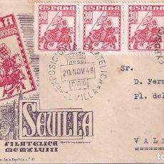 Francobolli: SELLOS ESPAÑA SOBRE PRIMER DIA CERTIFICADO 1948 CON BONITO FRANQUEO Y MATASELLOS CONMEMORATIVO. Lote 248136055